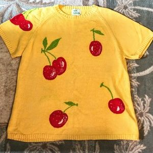 Quacker Factory 1X Yellow Sweater Short Sleeve
